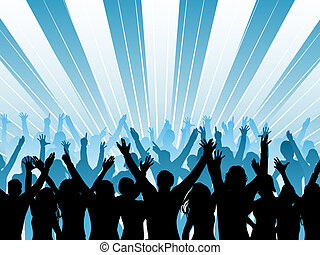 Audience - Silhouette of an audience with their arms raised