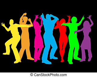Colourful people - Colourful silhouettes of people dancing