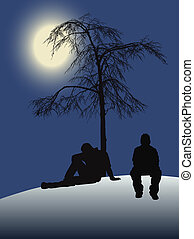 moonlight - 2 teenagers sitting under a tree with moonlight