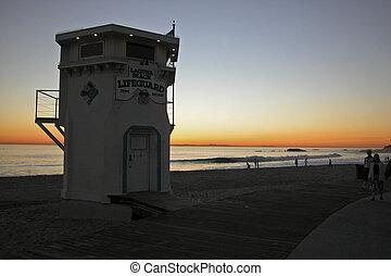 Sunset, Laguna Beach, Lifeguard Tower, California,...