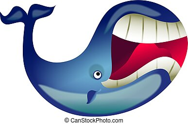 great whale - giant cartoon whale with a big mouth isolated...