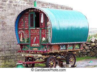 Old caravan - Horse drawn caravan of the type used by Gypsy...