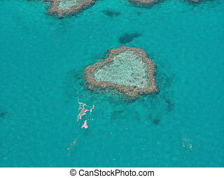 Heart Reef, Great barrier reef, Australia taken from the air...