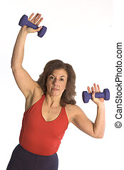 woman exercising with dumbells fitness instructor