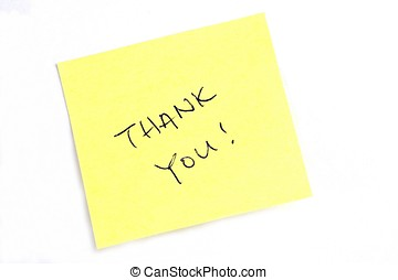 "Thank You! - Sticky post it note with ""Thank You\"" wording."