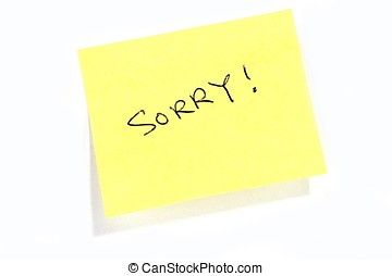 Sorry - Sticky post it note with Sorry wording