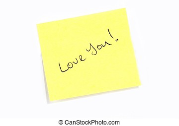 "Love You! - Sticky post it note with ""Love You\"" wording."