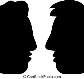 profile chat - profile faces in silhouette of two men in...