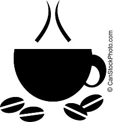 coffee cup icon - hot cup of coffee with coffee beans in...