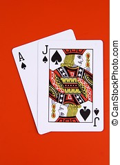 Black Jack and Black Ace in the red background