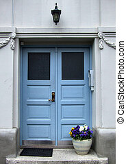 Beautiful blue door and flowers - Nice blue door in...