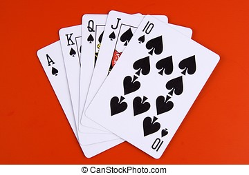 Royal Flush - Royal flush in spades with red background