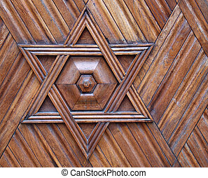 Jewish symbol - star of David - Wooden ornament - Jewish...