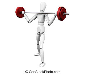 Weight lifting - 3D render of a man lifting weights