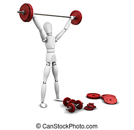 Weightlifting - 3D render of a man lifting weights