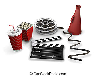Movie items - 3D render of movie items
