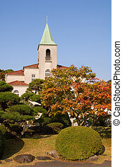 Catholic School - A Catholic School in Japan in Autumn