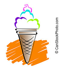Ice cream cone - Ice cream line art illustration