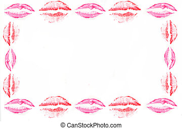 kiss border - pink and red shade kissing lips  border