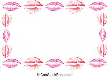 kiss border - pink and red shade kissing lips  border