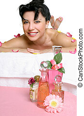 Beautiful smiling woman relaxing at spa - Beautiful smiling...