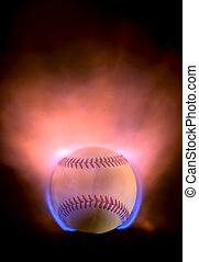 Flaming baseball - An explosive baseball with blue and...