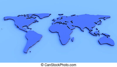 Blue World Map - 3D Illustration. An abstract Worldmap.