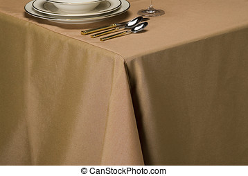 almond linen table cloth - table setting showing linen table...