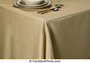 chablis linen table cloth - table setting showing linen...