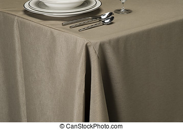 cinder linen table cloth - table setting showing linen table...