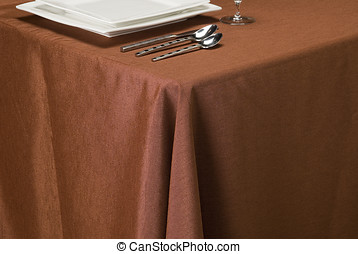 copper linen table cloth - table setting showing linen table...