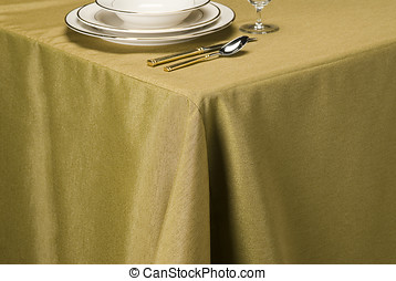 harvest linen table cloth - table setting showing linen...