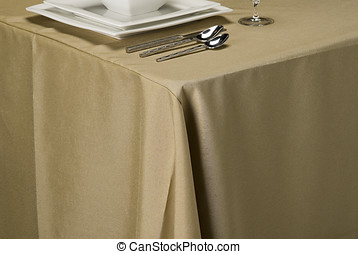 wheat linen table cloth - table setting showing linen table...