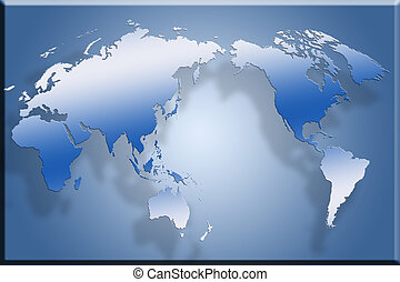 3D Flat World Map - 3d map laid out flat against blue...