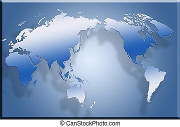 3D Flat World Map - 3d map laid out flat against blue...