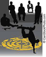 skateboarding - group of teenagers watching a skater doing...