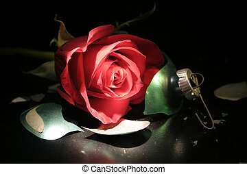Party\\\'s Over - Red rose on top of a broken ornament.