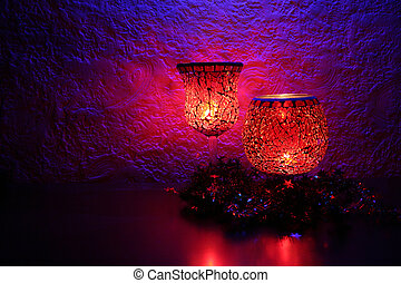 Candlelights on a mantle.