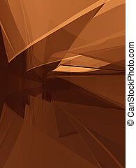 Curved spatial forms - Golden brown abstract architecture