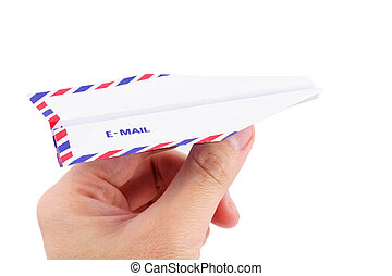 paper airplane email concept - envelope paper airplane,...