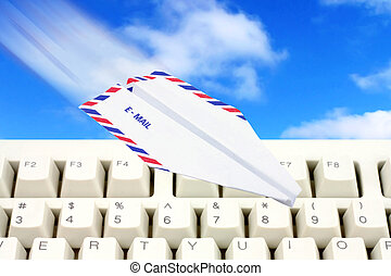 sky and paper airplane email concept - envelope paper...