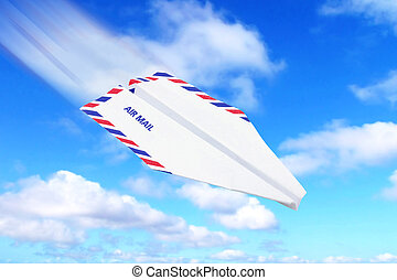 paper airplane airmail concept - envelope paper...