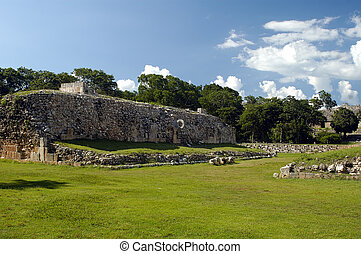 Mayan Ball court - A Mayan Ball field on a bright summer day