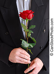Man red rose
