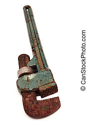 rusty adjustable spanner - Rusty adjustable spanner on a...
