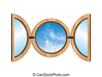 window - circular window\\\'s illustration with a blu sky