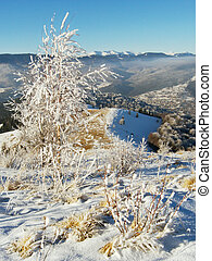 winter mountainside 1 - winter snow and rime covered small...