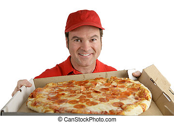 Delicious Pizza For You - A pizza delivery man holding a...