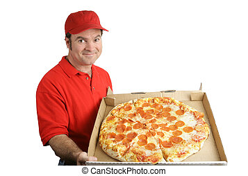 Pepperoni Pizza Delivered - A pizza delivery man holding a...