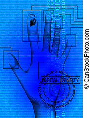 digital identity blue - A abstract image that represents...